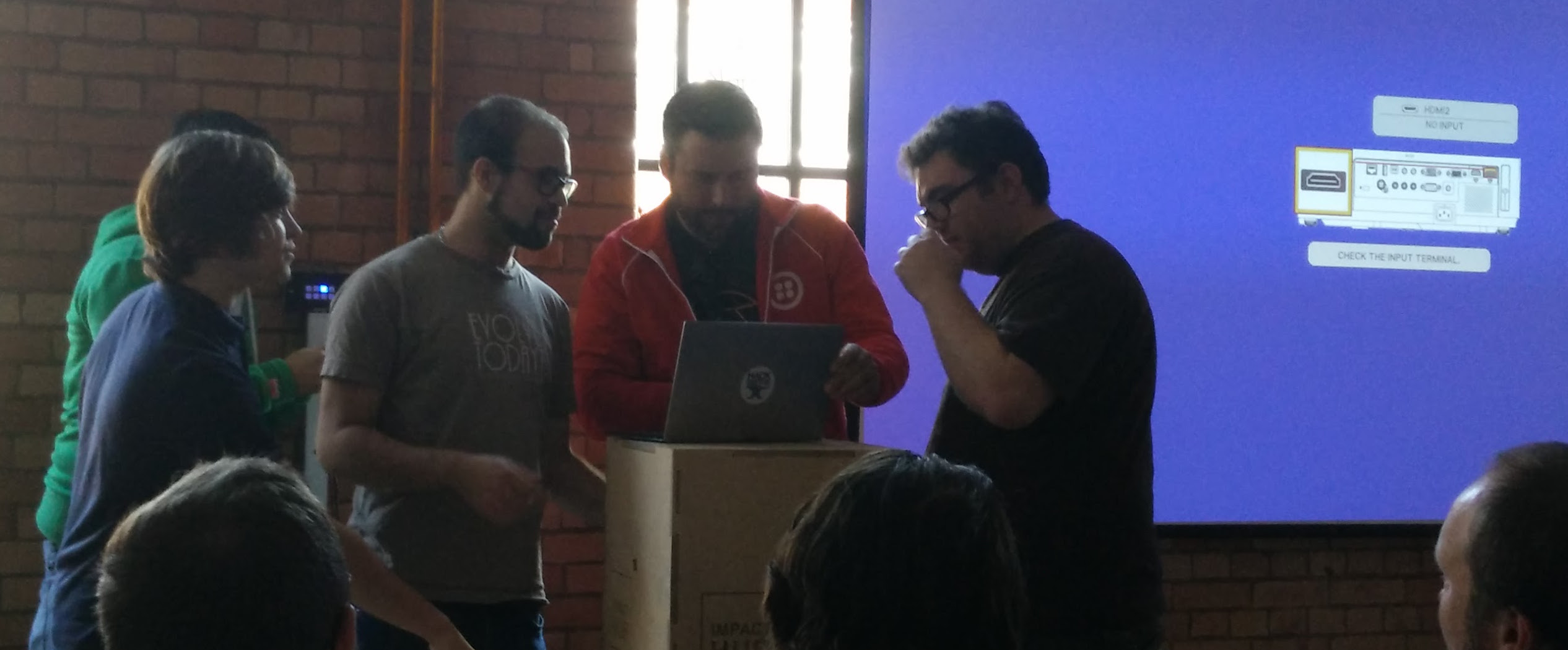 How many developers does it take to hook up a projector?